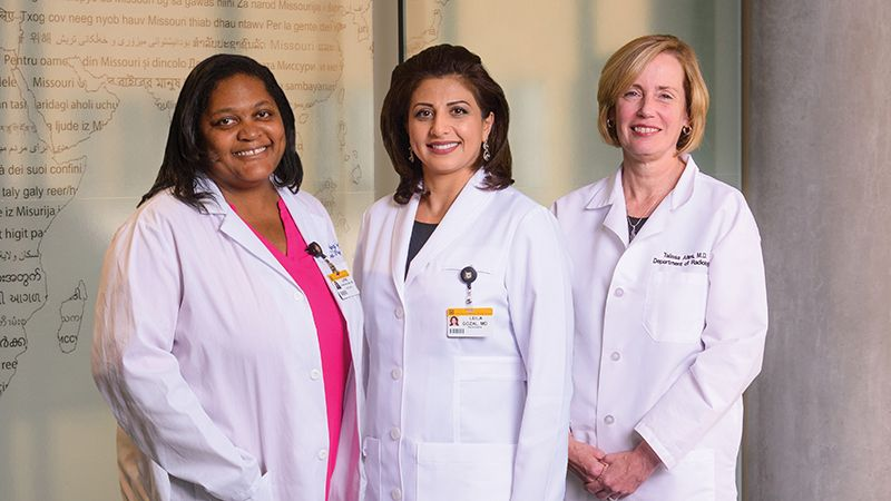 Talissa Altes, MD, the chair of the Department of Radiology; Leila Kheirandish-Gozal, MD, the director of the Child Health Research Institute; and Laine Young-Walker, MD '97, associate dean for student programs and chief of the Division of Child and Adolescent Psychiatry