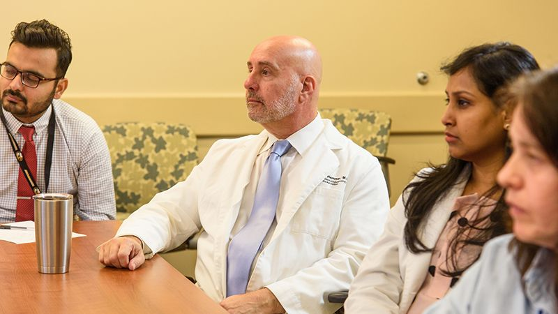 MU Health Care pathologist Richard Hammer, MD, participates in a tumor board