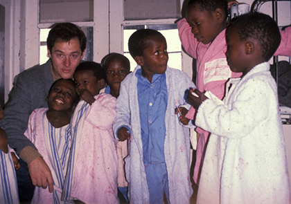 Dr. Jeffrey Anglen with pediatric patients in Transkei, South Africa