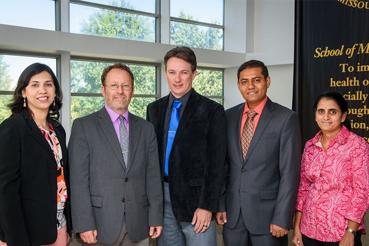 From left to right: Trupti Joshi, Lincoln Sheets, Tim Green, Abu Mosa and Anandhi Upendran.