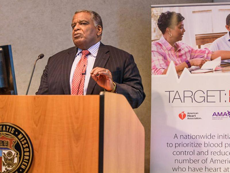 Hypertension expert Keith Ferdinand, MD, speaks in Acuff Auditorium about the new national guidelines lowering the threshold for the diagnosis of high blood pressure.