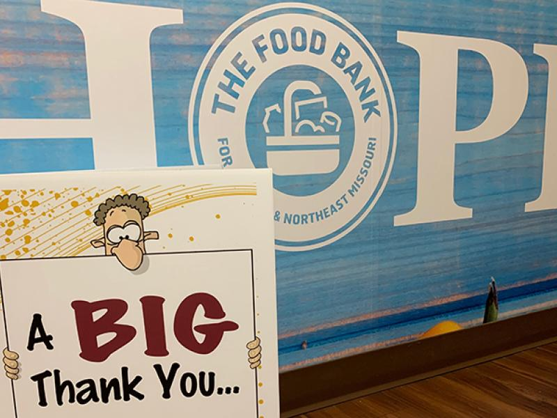 food bank thank you sign